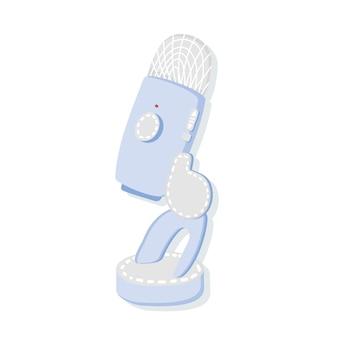 Microfoon in blauwe kleuren op een afgelegen witte achtergrond. uitzending en media interviewconcept. handgetekende stijl podcast. apparatuur voor radio-uitzendingen. microfoon icoon