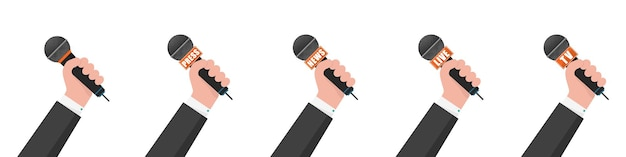 Microfoon in hand illustratie