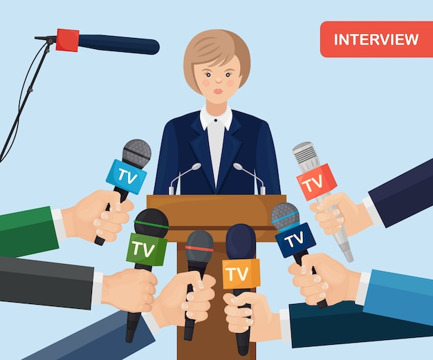 Microfoons in handen van verslaggevers