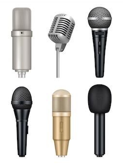 Microfoons realistisch. professionele media muziek studio-apparatuur metalen geluid mic foto's