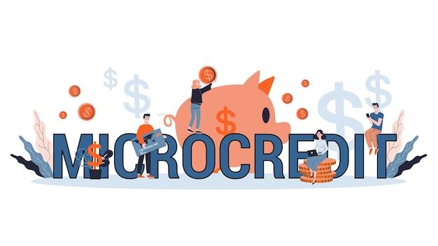 Microkrediet concept. idee van geld lenen voor investeringen in ondernemerschap. illustratie
