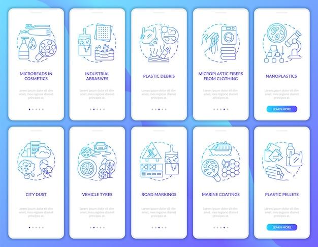 Microplastics-bronnen onboarding mobiele app-paginascherm met concepten