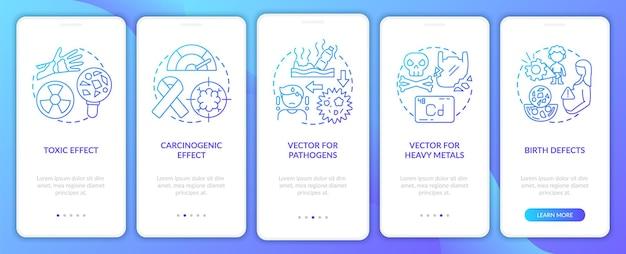 Microplastics gezondheidseffecten op het scherm van de mobiele app-pagina met concepten
