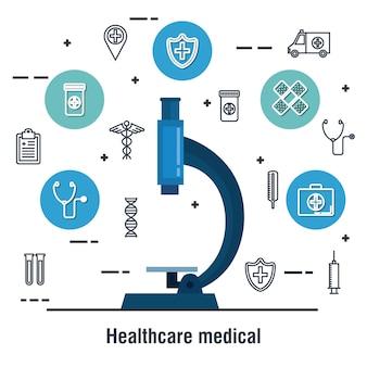 Microscoop gezondheidszorg medische pictogrammen