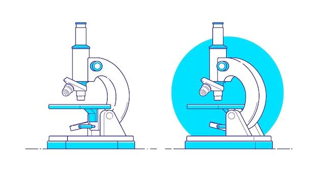 Microscoop in vlakke stijl op geïsoleerde achtergrond