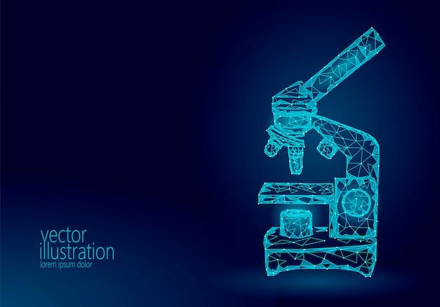Microscoop wetenschap geneeskunde zakelijke apparatuur. laag poly veelhoekig