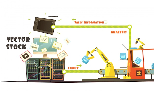 Microstock bedrijfseigenaar werken concept schema retro cartoon stijl