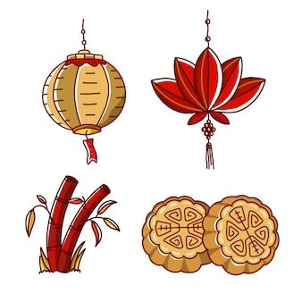 Mid autumn festival china illustratie set