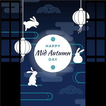 Mid-autumn festival illustratie met lantaarns en maan