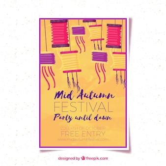 Mid-autumn festival poster met aquarel stijl
