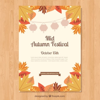 Mid-autumn festival poster met herfstbladeren