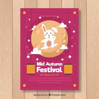 Mid autumn festival poster met konijntje en maan
