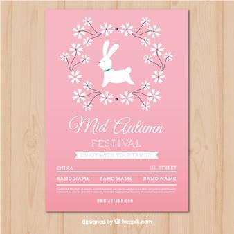 Mid-autumn festival poster met schattige stijl