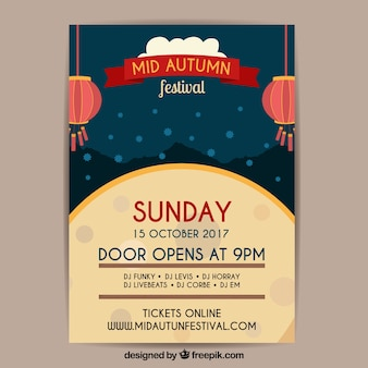 Mid-autumn festival poster met volle maan