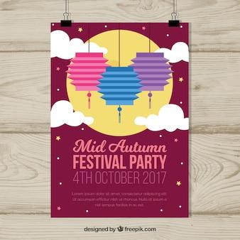 Mid-autumn festival poster voor nachtfeest
