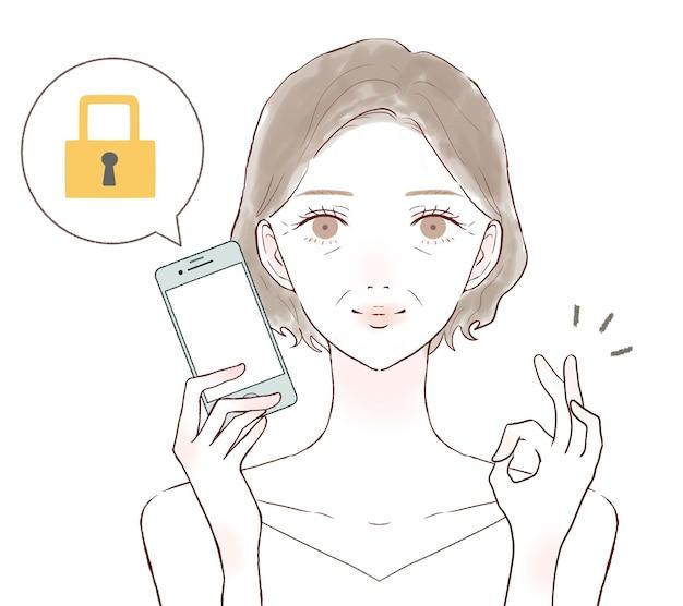 Middelbare oude vrouw met smartphone met veiligheidsmaatregelen. op een witte achtergrond.