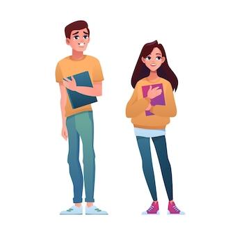 Middelbare scholieren geïsoleerde jongen meisje klasgenoten