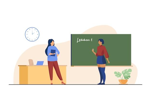 Middelbare schoolstudent die zich bij bord bevindt. zeggen les, leraar, schrijven op schoolbord platte vectorillustratie. klasse, onderwijs