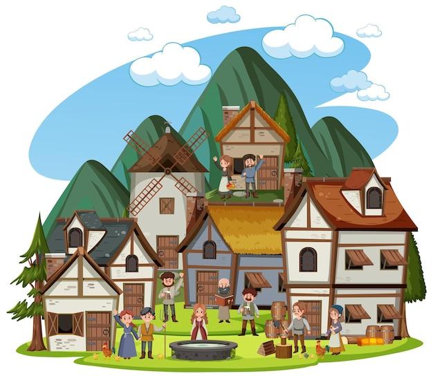 Middeleeuws dorp met dorpelingen op witte achtergrond