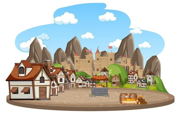 Middeleeuws dorp met kasteelachtergrond