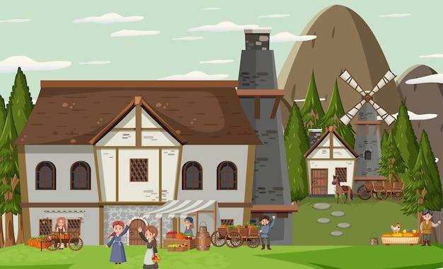 Middeleeuws dorpsgezicht met dorpelingen