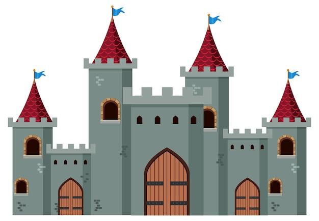 Middeleeuws historisch kasteel op witte achtergrond