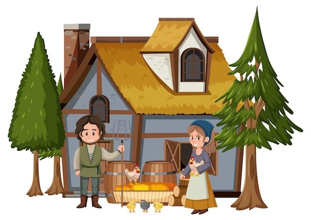 Middeleeuws huis met dorpsbewoners