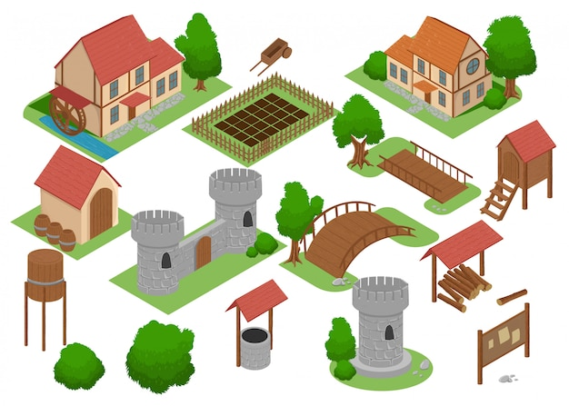Middeleeuws huis tegel online strategisch android-videogame insight. ontwikkeling kaartelement isometrische middeleeuwse gebouwen en molen verkennen spel antiek dorpshuis icon set collection.