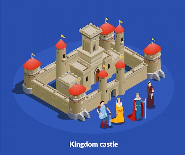 Middeleeuws kasteel isometrische cimposition