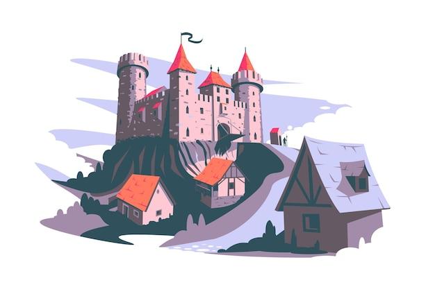 Middeleeuws kasteel op heuvel vector illustratie toren gebouw architectuur oude geschiedenis vlakke stijl middeleeuwen kunst en geschiedenis concept geïsoleerd