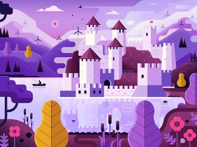 Middeleeuws kasteel op heuvel weerspiegeld op meer. fantasielandschap met bolwerk op rivieroever bij dageraad met mist, windmolens en bergen.