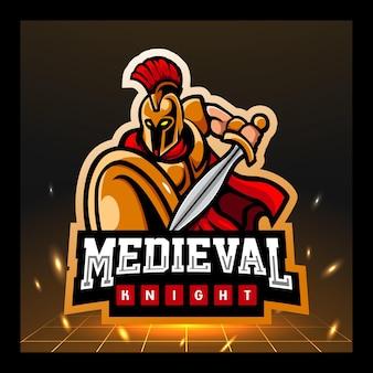 Middeleeuws ridder mascotte esport logo ontwerp