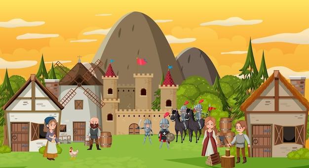 Middeleeuws stadsbeeld met dorpelingen en krijgers