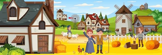 Middeleeuws stadsbeeld met dorpelingen