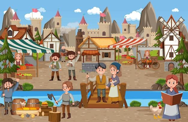 Middeleeuws stadsbeeld met dorpsbewoners op de markt Premium Vector