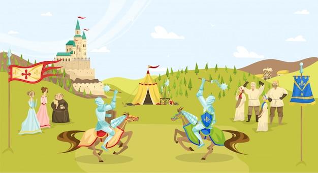 Middeleeuws tijdvaktoernooi, stripfiguren, ridders met zwaarden op paarden die vechten, boeren en kasteelillustratie.