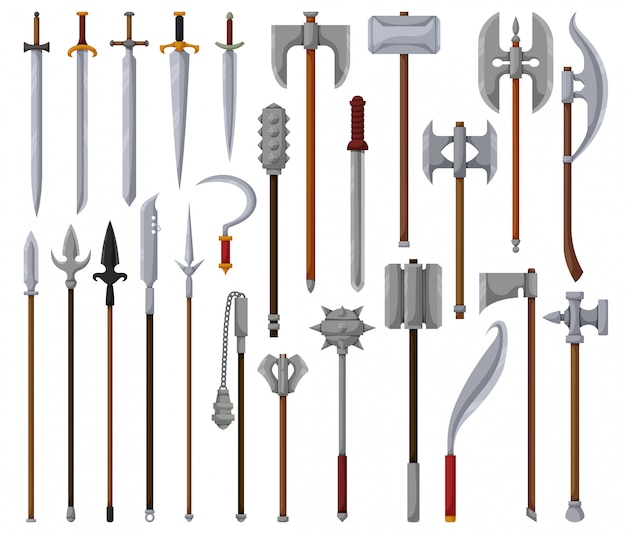 Middeleeuws wapen geïsoleerd beeldverhaal vastgesteld pictogram. cartoon set icon ridder zwaard.