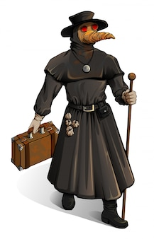 Middeleeuwse arts in beschermende pak wandelingen met koffer. uitbraak cholera vintage geneeskunde steampunk stijl