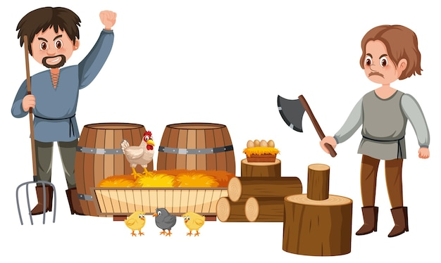 Middeleeuwse boeren stripfiguur