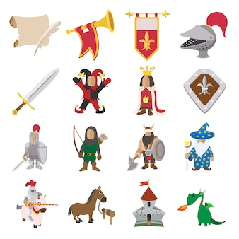 Middeleeuwse cartoon pictogrammen instellen