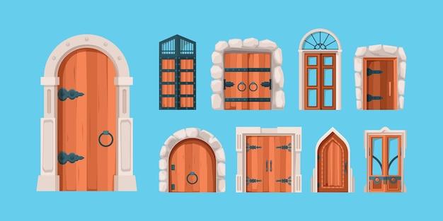 Middeleeuwse deuren. oude houten en stalen deuren oud gebouw muur mysterieuze portaalpoorten in vlakke stijl. middeleeuwse houten deur, oude poort voor kasteelillustratie