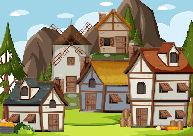 Middeleeuwse dorpsscène met heuvelsachtergrond