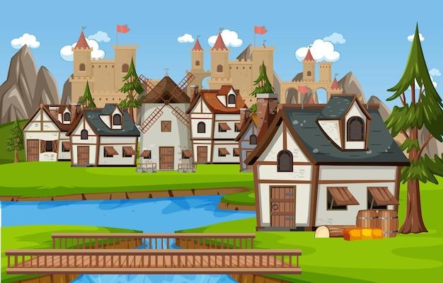Middeleeuwse dorpsscène met kasteelachtergrond