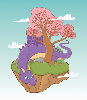 Middeleeuwse draak van sprookjesachtig ontwerp