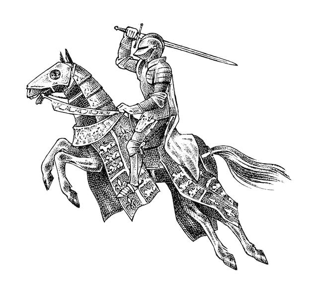 Middeleeuwse gewapende ridder op een paard