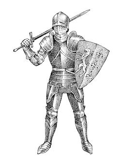 Middeleeuwse gewapende ridder op wit wordt geïsoleerd
