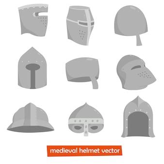 Middeleeuwse helm. vectorillustratie geïsoleerd op een witte achtergrond.