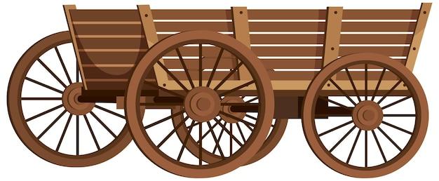 Middeleeuwse houten wagen op witte achtergrond