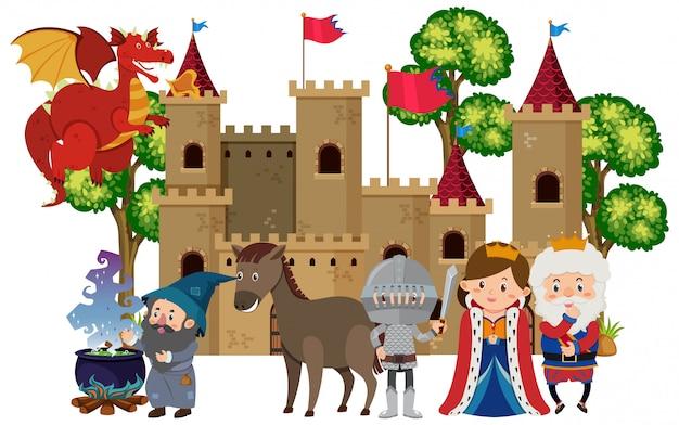 Middeleeuwse karakters in het kasteel