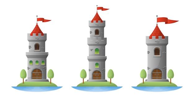 Middeleeuwse kasteelillustratie op witte achtergrond